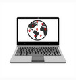 realistic laptop display map world vector image vector image