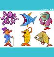 sea life animal cartoon characters collection vector image