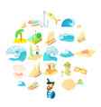 seasearch icons set cartoon style vector image vector image