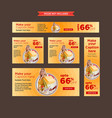 set of pale yellow shopping clearance web banners vector image
