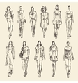 Sketch of fashion girls drawn vector image