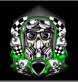 skull helmet racing with gas mask vector image vector image