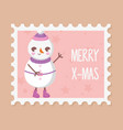 snowman with hat decoration merry christmas stamp vector image vector image
