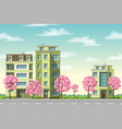 some houses with flowering trees vector image vector image