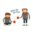 Street beggar hungry man asks for money with a vector image