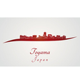 Toyama skyline in red vector image vector image