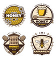 vintage colored honey emblems set vector image vector image