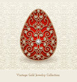 vintage jewelry gold easter egg vector image