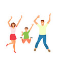 father mother and son jumping happy active vector image
