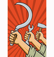 Raised Fists Holding Tools vector image