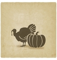 Thanksgiving symbols turkey and pumpkin vector image