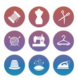sewing or tailor shop silhouette icons set vector image