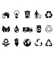 black recycling icons set
