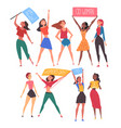 8 march women fighting for their rights set vector image