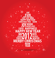 Abstract christmas card with tree of season words vector image