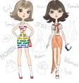 beautiful fashion girls top model vector image vector image
