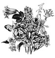 Black and white hand drawn garden flowers
