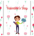 boy holding present and flowers on valentines day vector image vector image