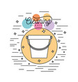 bucket plastic silhouette cleaning service in vector image