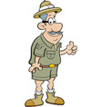 Cartoon explorer giving thumbs up