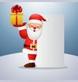 cartoon happy santa claus holding gift box and bla vector image