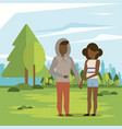 couple man and woman afro vector image vector image