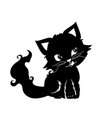 cute black kitten vector image vector image