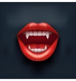 Dark Background of vampire mouth with open lips vector image vector image