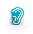 ear icon paper vector image vector image