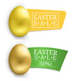 easter sale banner with golden egg vector image vector image