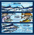 fresh fish seafood restaurant sketch banner set vector image vector image