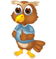 funny brown owl in blue shirt cartoon vector image vector image