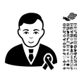 Gentleman With Mourning Ribbon Flat Icon vector image vector image