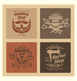 grunge vintage barber shop labels design vector image