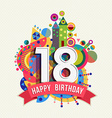 Happy birthday 18 year greeting card poster color vector image vector image