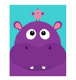 hippopotamus head facelooking up to bird cute vector image vector image