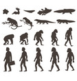 human darwin evolution silhouettes set vector image