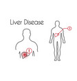 liver disease linear icon young man vector image