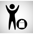 man happy silhouette with house icon vector image vector image
