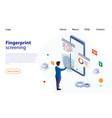 man puts finger on fingerprint recognition system vector image vector image