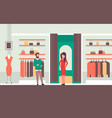 man seller consultant near woman trying on new vector image vector image