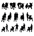 mother and father with baby stroller silhouette vector image vector image