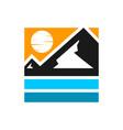 mountain and beach modern logo vector image vector image