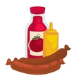 Mustard sausage and ketchup or sauce bottle vector image