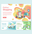 online shopping team job posters text set vector image