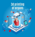 organs 3d printing background vector image vector image