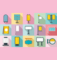 outdoor advertising icons set flat style vector image