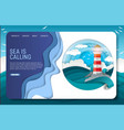 paper cut lighthouse landing page website vector image