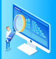 pc professional researching with loupe vector image