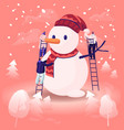 people building huge snowman in scarf and knitted vector image